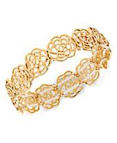 I.N.C. Gold-Tone Openwork Flower Stretch Bracelet, Created for Macy's