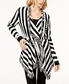 I.N.C. Striped Fringe-Trimmed Cardigan, Created for Macy's