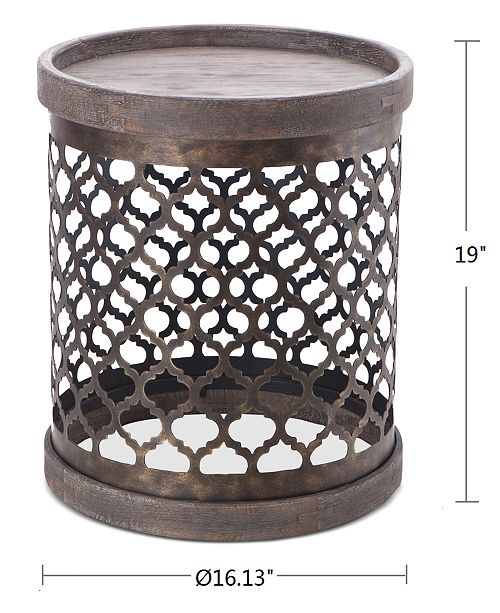 Cooper Metal Drum Accent Table Quick Ship