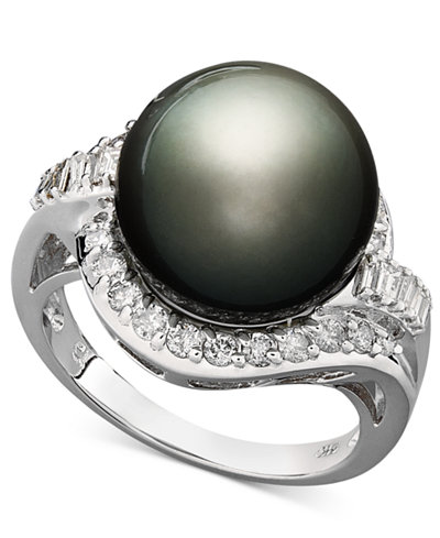 14k White Gold Ring, Cultured Tahitian Pearl (12mm) and Diamond (5/8 ct. t.w.) Ring