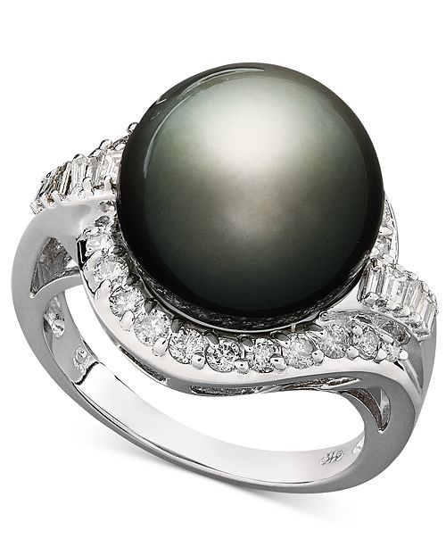 Macy's 14k White Gold Ring, Cultured Tahitian Pearl (12mm) and Diamond (5/8 ct. t.w.) Ring