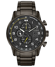 Citizen Men's Chronograph Eco-Drive Primo Gray Stainless Steel Bracelet Watch 45mm
