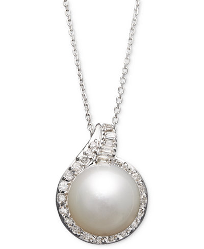14k White Gold Necklace, Cultured South Sea Pearl (12mm) and Diamond (1/2 ct. t.w.) Pendant