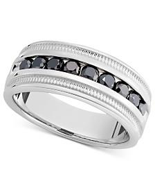 Men's Sterling Silver Ring, Black Diamond Band (1 ct. t.w.)