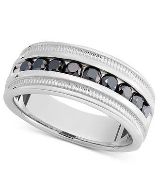Macy S Men S Sterling Silver Ring Black Diamond Band 1 Ct T W