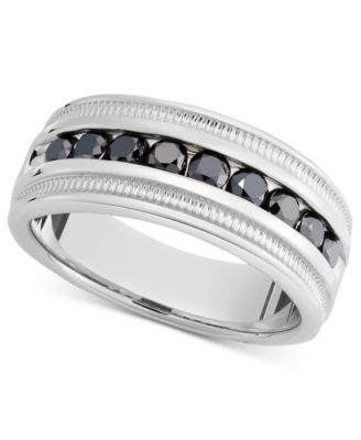 Menu0027s Sterling Silver Ring, Black Diamond Band (1 Ct. T.w.)