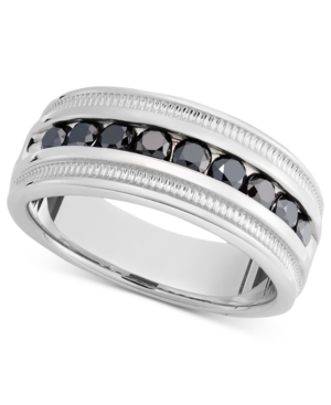 Men's Sterling Silver Ring, Black Diamond Band (1 ct. t.w.)