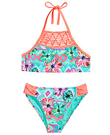 Breaking Waves 2-Pc. Floral-Print Bikini Swimsuit, Big Girls
