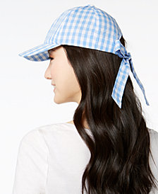 I.N.C. Gingham Bow-Back Baseball Cap, Created for Macy's