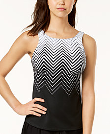 Reebok Electric Express Printed High-Neck Tankini Top, Created for Macy's