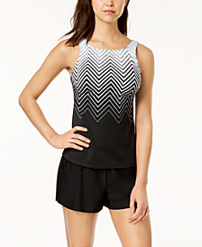 Reebok Electric Express High-Neck Tankini Top & Swim Shorts, Created for Macy's