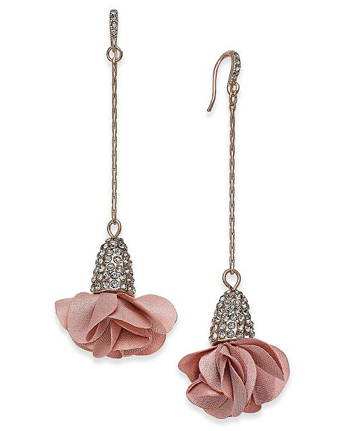 INC International Concepts INC Fabric-Flower Drop Earrings, Created for Macy's