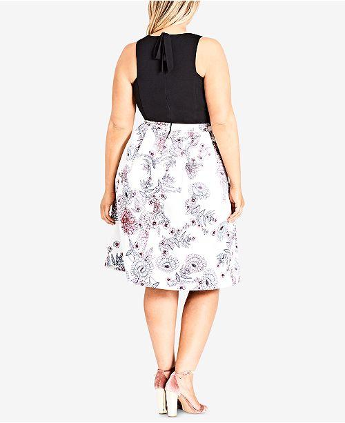 Plus Size City Trendy Dress Line A Floral Print Chic Spring 7qn4a1