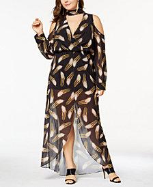 Monif C. Trendy Plus Size Cold-Shoulder Maxi Dress