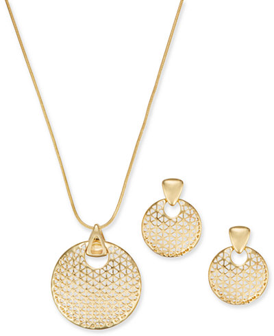 Charter Club Gold-Tone Textured Disc Pendant Necklace & Drop Earrings Set, 17