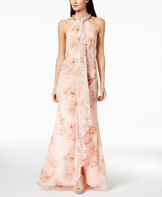 Calvin Klein Floral Draped Chiffon Halter Gown Dresses Women