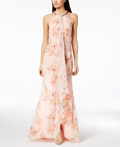 Calvin Klein Floral Draped Chiffon Halter Gown - Dresses - Women ...