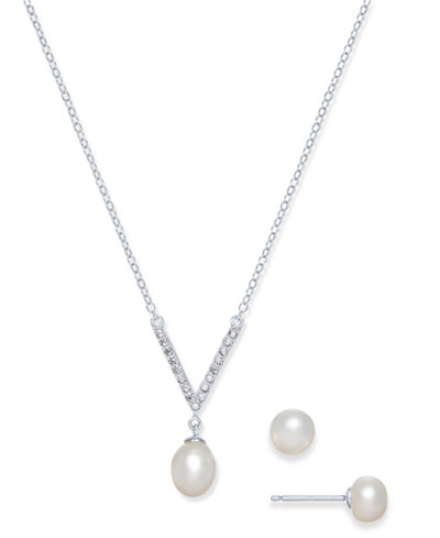 Cultured Freshwater Pearl (7 x 9mm & 6mm) & Cubic Zirconia Jewelry Set in Sterling Silver