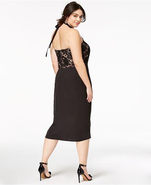 City Chic Trendy Plus Size Lady Portia Faux Wrap Halter Dress