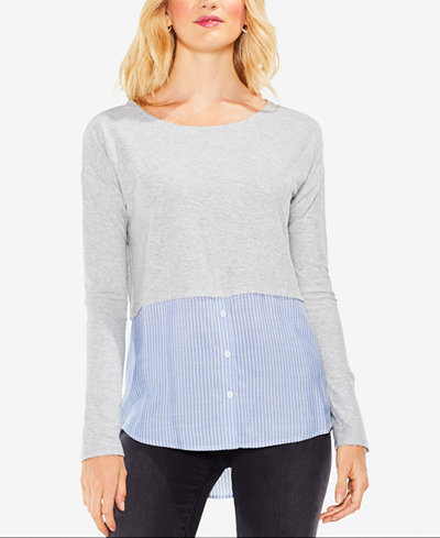 Vince Camuto Cotton Layered-Look Sweater