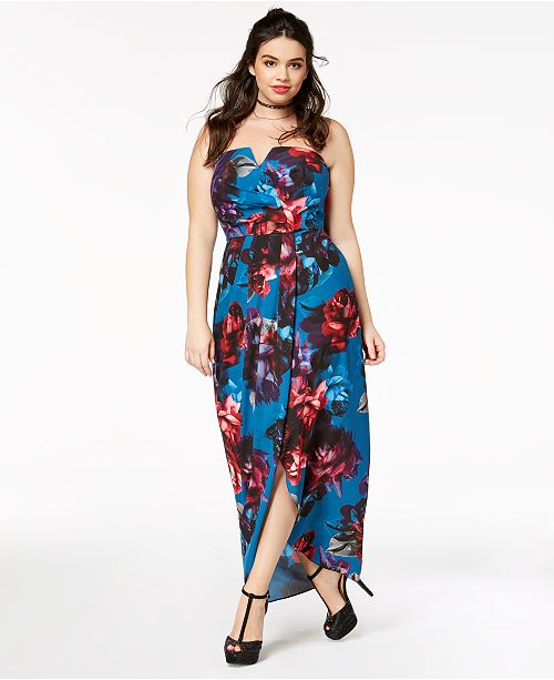 City Chic Plus Size Floral-Print Convertible Maxi Dress & Reviews ...