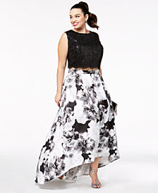 City Studios Trendy Plus Size 2-Pc. Sequined High-Low Gown