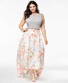 City Studios Trendy Plus Size 2-Pc. Glitter Lace & Floral-Print Gown