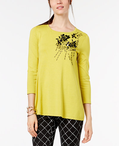 Alfani Embellished 3/4-Sleeve Sweater, Created for Macy's