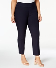 Charter Club Petite Plus Size Cambridge Tummy-Control Pull-On Pants, Created for Macy's