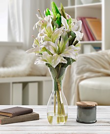 "Pure Garden Tall White Lily Floral Arrangement with Vase, 21.5"" x 4"" x 4"""