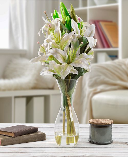 """Trademark Global Pure Garden Tall White Lily Floral Arrangement with Vase, 21.5"""" x 4"""" x 4"""""""