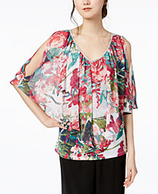 MSK Printed Cold-Shoulder Flutter Top
