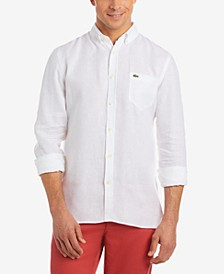 Men's Regular Fit Long Sleeve Linen Pocket Shirt