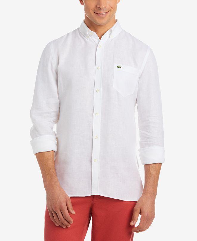 Lacoste Men's Regular Fit Long Sleeve Linen Pocket Shirt