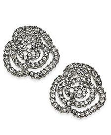 I.N.C. Silver-Tone Pavé Rosette Stud Earrings, Created for Macy's