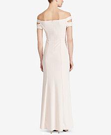 Lauren Ralph Lauren Off-The-Shoulder Crepe Gown