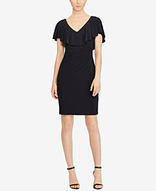 Lauren Ralph Lauren Ruffled Overlay V-Back Sheath Dress
