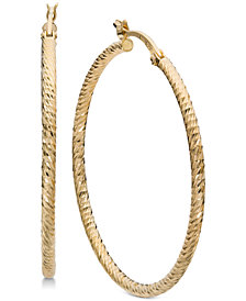 Giani Bernini Textured Hoop Earrings in 18k Gold-Plated Sterling Silver, Created for Macy's