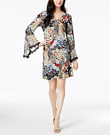 MSK Peacock-Print Bell-Sleeve Dress