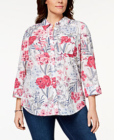 Karen Scott Plus Size Cotton Printed Blouse, Created for Macy's