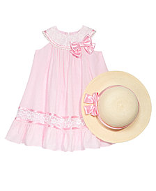 Bonnie Jean 2-Pc. Lace-Trim Trapeze Dress & Hat Set, Little Girls