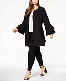 Alfani Plus Size Ruffle-Sleeve Zip-Up Jacket, Created for Macy's