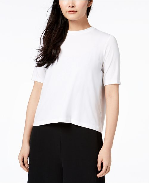 Stretch Jersey Mock-Neck Top