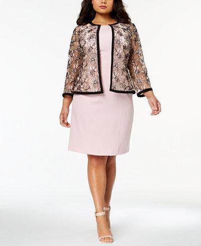 Kasper Plus Size Sheer Embroidered Blazer & Sheath Dress - Women ...