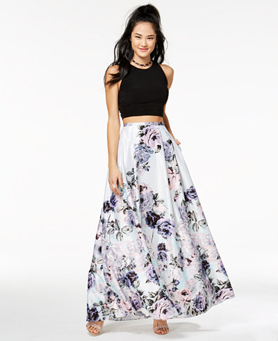 Blondie Nites Juniors' 2-Pc. Floral-Print Gown