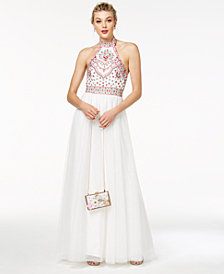 Blondie Nites Juniors' Embroidered Halter Ball Gown