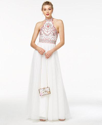 Blondie Nites Juniors' Embroidered Halter Ball Gown