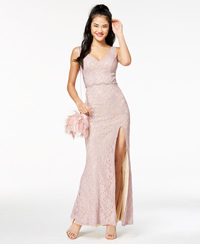 City Studios Juniors' Embellished Lace Gown, Created for Macy's