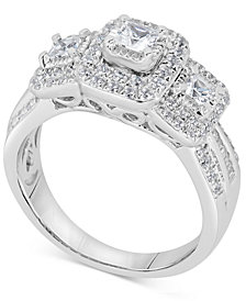 Diamond Princess Trio Engagement Ring (1 ct. t.w.) in 14k White Gold