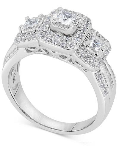 Diamond Princess Trio Engagement Ring (1 ct. t.w.) in 14k White Gold